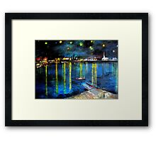 Starry Night over the Rhone /   My  Version of  Vincent  van  Gogh's painting of Arles at night;        ( My Paintings)  Framed Print