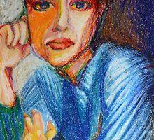 Carmel - Portrait Of A Woman In A Blue Dress by Nancy Mauerman