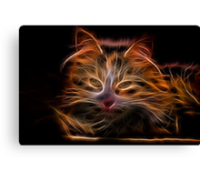 Electric Glowing Cat Canvas Print