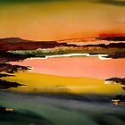 Goldern Vally Sunrise Original Watercolur Acrylic Painting by Eraclis Aristidou