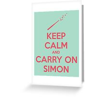 Keep Calm and Carry On Simon—Pink Text Greeting Card