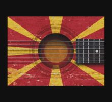 Old Vintage Acoustic Guitar with Macedonian Flag Kids Clothes