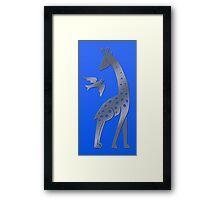 Giraffe and bird - perforated sheet design Framed Print