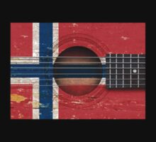 Old Vintage Acoustic Guitar with Norwegian Flag Kids Clothes
