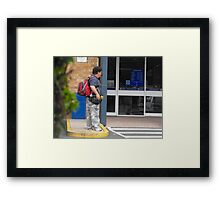 Homeless with Back-Pack Framed Print