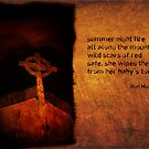summer night fire as a haiga by Ron Moss