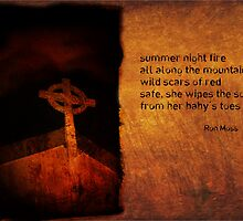 summer night fire as a haiga by Ron C. Moss