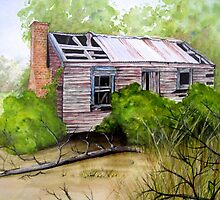 Old Ruined Cottage in Coleraine Watercolour Painting by Heatherian