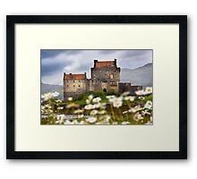 Eilean Donan Castle and Summer Flowers, Dornie, SCOTLAND. Framed Print