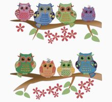 Cute colourful owls on branches by walstraasart