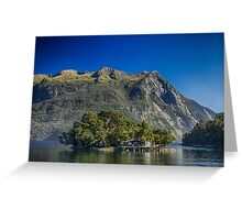 Lake Island House & Mountains, HD Photograph Greeting Card