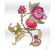 Fantasy garden, watercolor painted flowers Poster