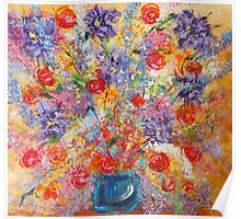Floral Explosion, abstract flower still life, bold exciting colors Poster