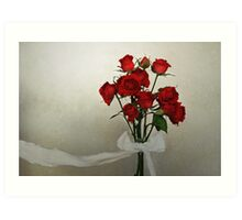 Scarlet Roses with White Ribbon Art Print