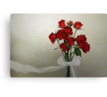 Scarlet Roses with White Ribbon Canvas Print