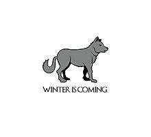 "Grey Dire-Wolf, ""Winter is Coming"" Design Quote by tshirtdesign"