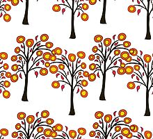 seamless pattern with autumn trees on the white background by Ann-Julia