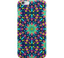 seamless pattern with colorful circular ornament on dark bacground iPhone Case/Skin