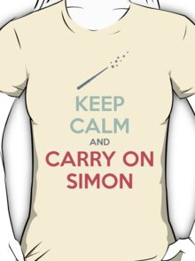 Keep Calm and Carry On Simon—Multi-Color Text T-Shirt