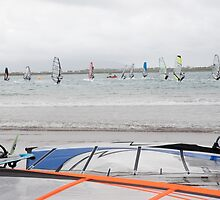 wind surfers racing in the gales by morrbyte