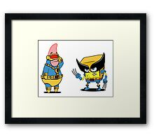 spongebob and patrick-x men Framed Print