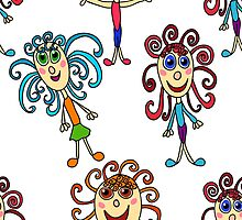 seamless pattern with curly girls on white by Ann-Julia