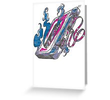 Music Tape Cassette Flames Greeting Card