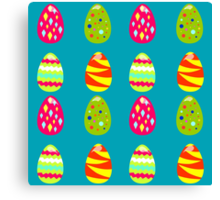 seamless pattern with easter eggs on the blue background Canvas Print