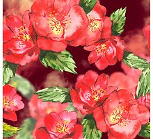 Red Roses Watercolor by pjwuebker