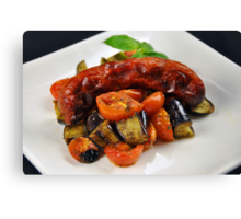 Chorizo Sausage With Roasted Vegetables  Canvas Print
