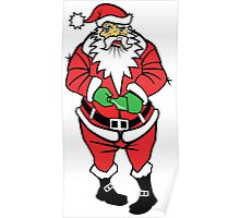 Drunk Christmas Santa Claus Illustration Poster