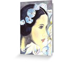 BEAUTIFUL ART NOUVEAU WOMAN WITH LILIES - Coloured Pencil and Watercolour-Design Greeting Card