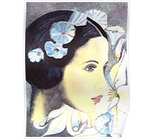 BEAUTIFUL ART NOUVEAU WOMAN WITH LILIES - Coloured Pencil and Watercolour-Design Poster