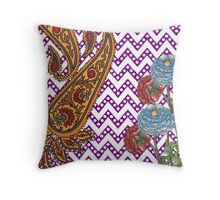 flower and paisley Throw Pillow