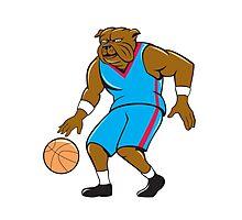 Bulldog Basketball Player Dribble Cartoon Photographic Print