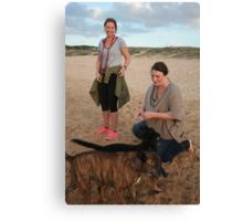 Delia & Kelsey with Labrador & Kelpie Cross Canvas Print