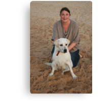Kelsey with her Labrador Canvas Print