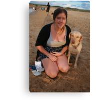 Jen with Kelpie-Lab Canvas Print