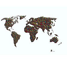 A S L ... I Love You World Map  Photographic Print