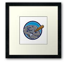 Grizzly Bear Baseball Player Batting Circle Cartoon Framed Print