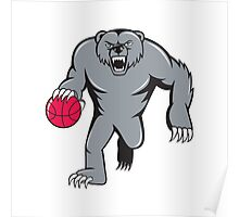 Grizzly Bear Angry Dribbling Basketball Isolated Poster