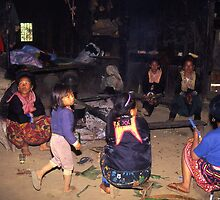 Inside a house of members of the Hmong Hill Tribe, Northern Thailand. by Peter Stephenson