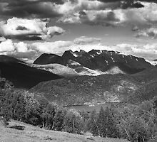 Norway landscape, black and white by Sandra Kemppainen