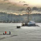 Warm Glow on a Cool Scene - Ice Fishing on Newfound Lake by Wayne King