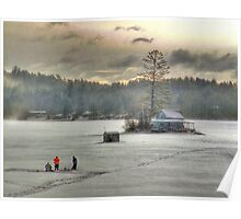 Warm Glow on a Cool Scene - Ice Fishing on Newfound Lake Poster