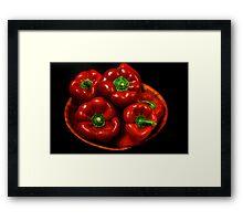 Bowl Of Red Capsicums  Framed Print