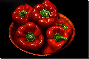 Bowl Of Red Capsicums  by EOS20