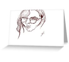 drawing of a womens face Greeting Card