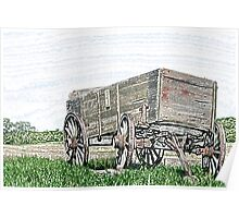 Abandoned Wooden Wagon in a Field Poster
