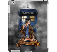 Mysterious Time traveller with blue Phone box iPad Case/Skin
